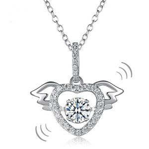 Jewelry - Dancing Stone Heart Angle Wing Necklace 925 Silver